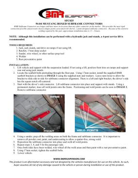 BMR Installation Instructions for SFC025