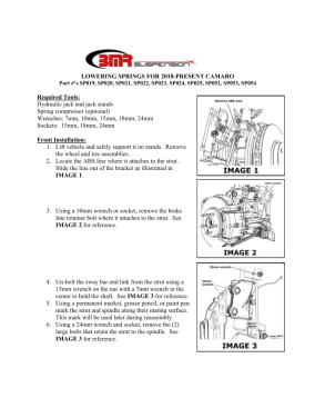 BMR Installation Instructions for SP019