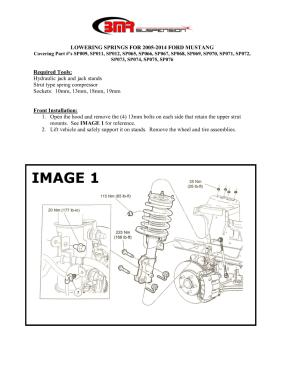 BMR Installation Instructions for SP073
