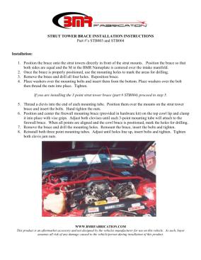 BMR Installation Instructions for STB003