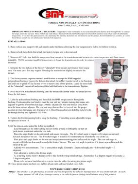 BMR Installation Instructions for TA001