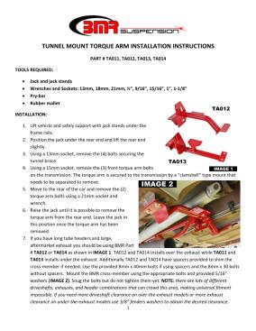 BMR Installation Instructions for TA012