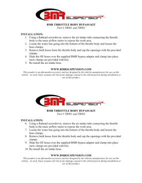 BMR Installation Instructions for TB002