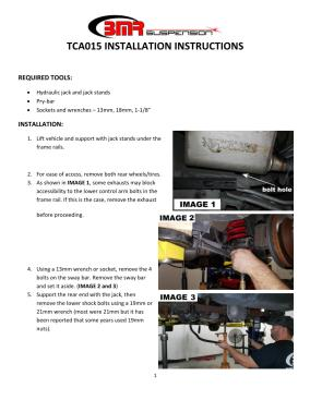 BMR Installation Instructions for TCA015