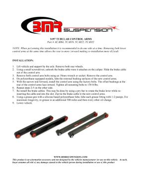 BMR Installation Instructions for TCA022