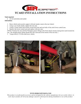 BMR Installation Instructions for TCA023