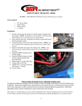 BMR Installation Instructions for TCA033