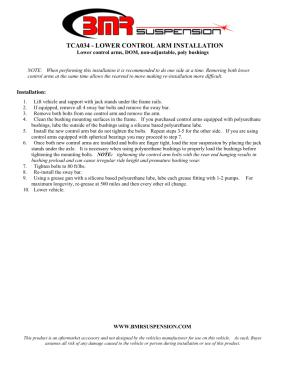 BMR Installation Instructions for TCA034