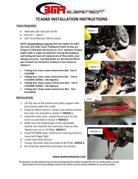 BMR Installation Instructions for TCA060