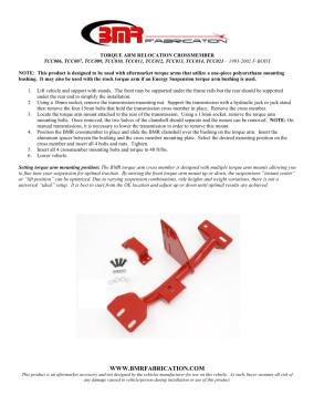 BMR Installation Instructions for TCC009