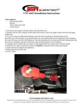 BMR Installation Instructions for UTCA043