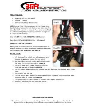 BMR Installation Instructions for UTCA061