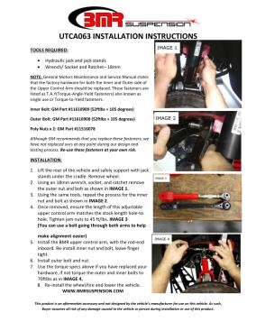 BMR Installation Instructions for UTCA063