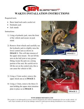 BMR Installation Instructions for WAK331