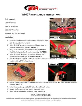 BMR Installation Instructions for WL007